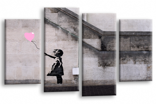 Banksy Art Balloon Girl Love Peace Pink Grey Canvas Wall Print